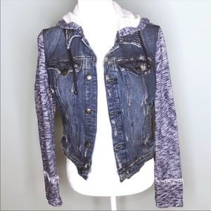 Free People distressed denim, fabric boho jacket